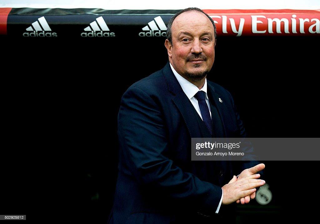 Head coach Rafael Benitez of Real Madrid CF reacts prior to start the La Liga match between Real Madrid CF and Real Sociedad de Futbol at Estadio Santiago Bernabeu on December 30, 2015 in Madrid, Spain.