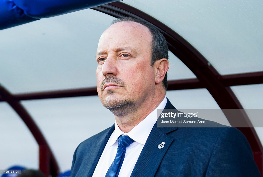 Head coach Rafael Benitez of Real Madrid looks on prior to the start the La Liga match between SD Eibar and Real Madrid at Ipurua Municipal Stadium on November 29, 2015 in Eibar, Spain.