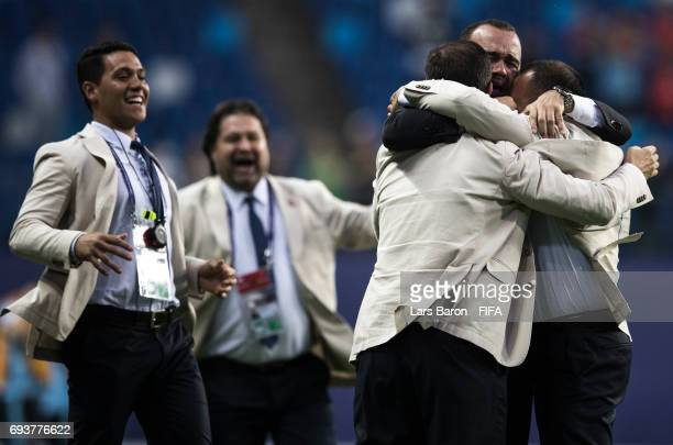 Head coach Rafael Dudamel of Venezuela celebrates with his staff after winning the FIFA U20 World Cup Korea Republic 2017 Semi Final match between...