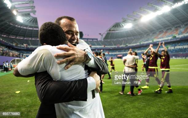 Head coach Rafael Dudamel of Venezuela celebrates with Wuilker Farinez of Venezuela after winning the FIFA U20 World Cup Korea Republic 2017 Semi...