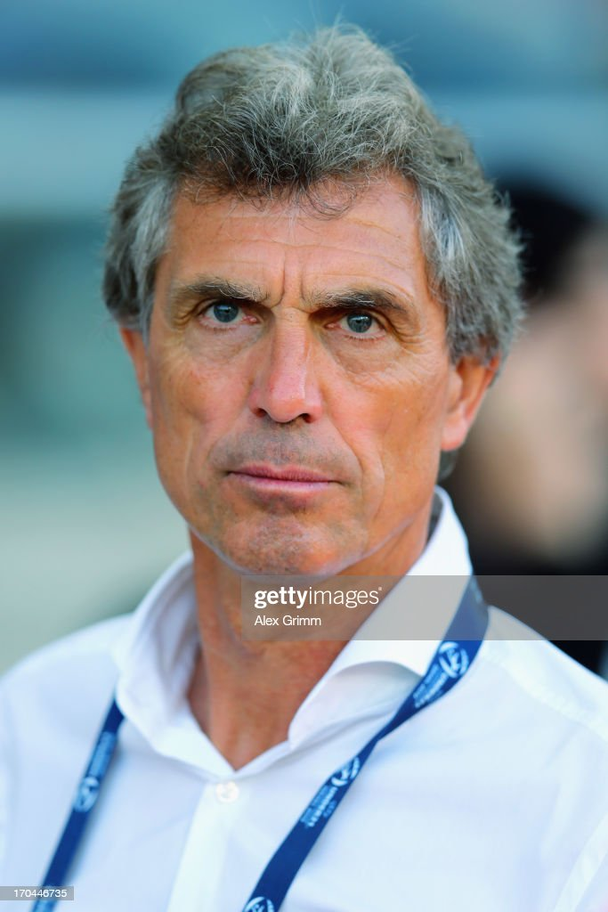 Head coach <a gi-track='captionPersonalityLinkClicked' href=/galleries/search?phrase=Rainer+Adrion&family=editorial&specificpeople=2380316 ng-click='$event.stopPropagation()'>Rainer Adrion</a> of Germany looks on prior to the UEFA European U21 Championship Group B match between Russia and Germany at Netanya Stadium on June 12, 2013 in Netanya, Israel.