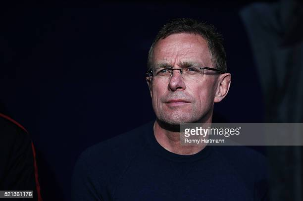 Head coach Ralf Rangnick of Leipzig looks on prior to the Second Bundesliga match between RB Leipzig and SV Sandhausen at Red Bull Arena on April 15...