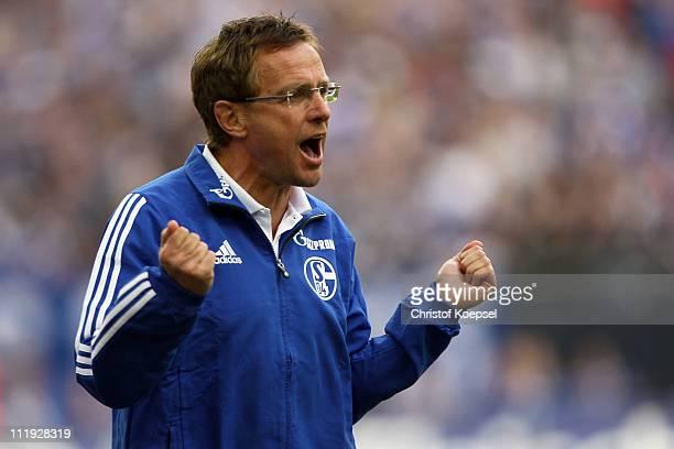Head coach Ralf Rangnick of Schalke issues instructions during the Bundesliga match between FC Schalke 04 and VfL Wolfsburg at Veltins Arena on April...