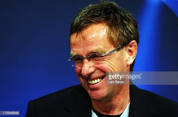Head coach Ralf Rangnick smiles during a FC Schalke 04 press conference ahead of the UEFA Champions League quarter final second leg match against...