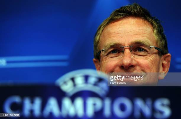 Head coach Ralf Rangnick smiles during a FC Schalke 04 press conference ahead of the UEFA Champions League semifinal first leg match against...