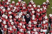 Head coach Ralph Friedgen of the Maryland Terrapins huddles with the team before the game against the Clemson Tigers October 27 2007 at Byrd Stadium...