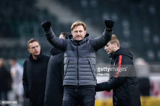 Head coach Ralph Hasenhuettl celebrates after the the Bundesliga match between Borussia Moenchengladbach and RB Leipzig at BorussiaPark on February...