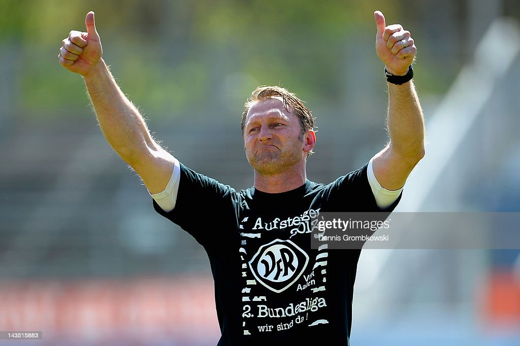 Head coach Ralph Hasenhuettl of Aalen celebrates after the third league match between VfB Stuttgart II and VfR Aalen at GAZI stadium on April 28 2012...