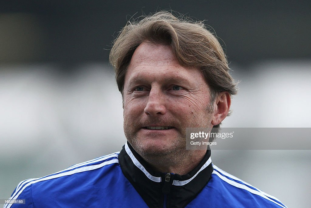 Head coach Ralph Hasenhuettl of Aalen looks on prior to the Second Bundesliga match between FSV Frankfurt and VfR Aalen at Frankfurter Volksbank Stadium on March 8, 2013 in Frankfurt am Main, Germany.