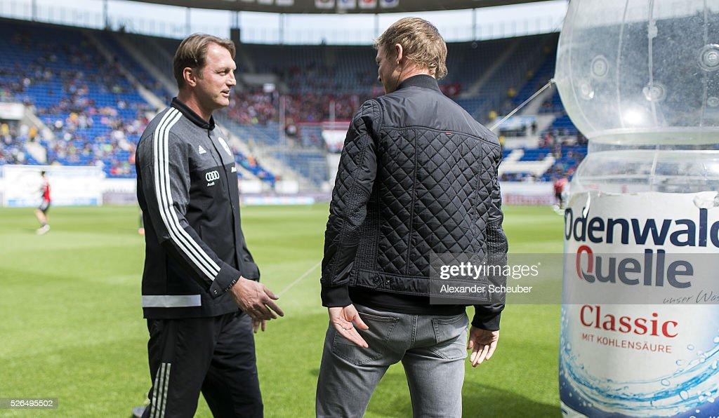 Head coach Ralph Hasenhuettl of FC Ingolstadt and Head coach Julian Nagelsmann of Hoffenheim prior the first Bundesliga match between 1899 Hoffenheim and FC Ingolstadt at Wirsol Rhein-Neckar-Arena on April 30, 2016 in Sinsheim, Germany.