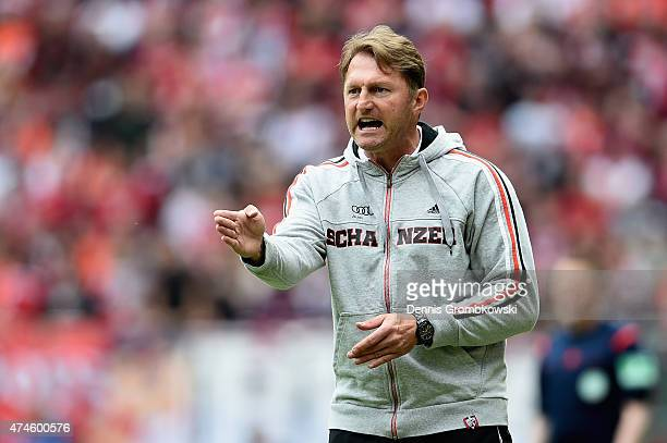 Head coach Ralph Hasenhuettl of FC Ingolstadt gestures during the Second Bundesliga match between 1 FC Kaiserslautern and FC Ingolstadt at...