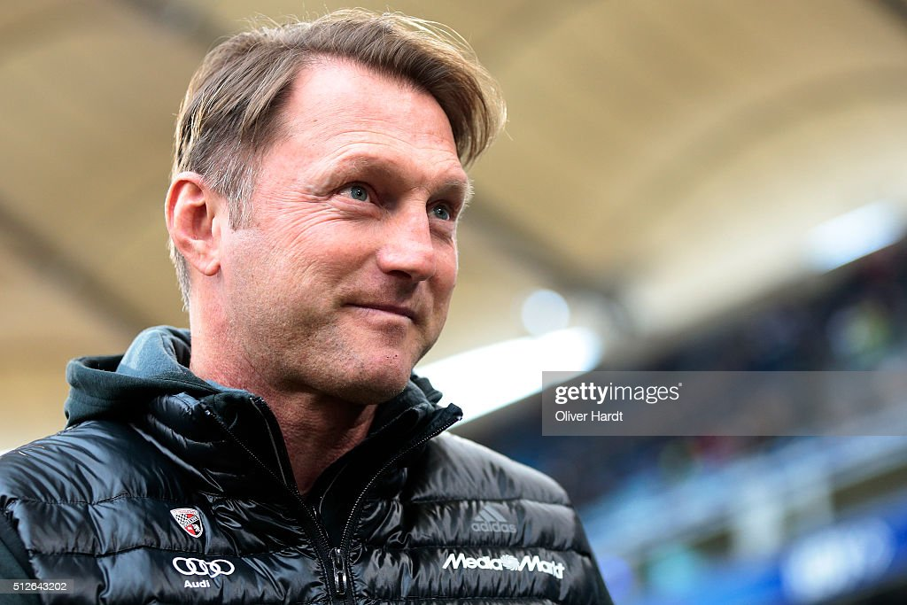 Head coach Ralph Hasenhuettl of Ingoldstadt looks on prior to the First Bundesliga match between Hamburger SV and FC Ingolstadt at Volksparkstadion...