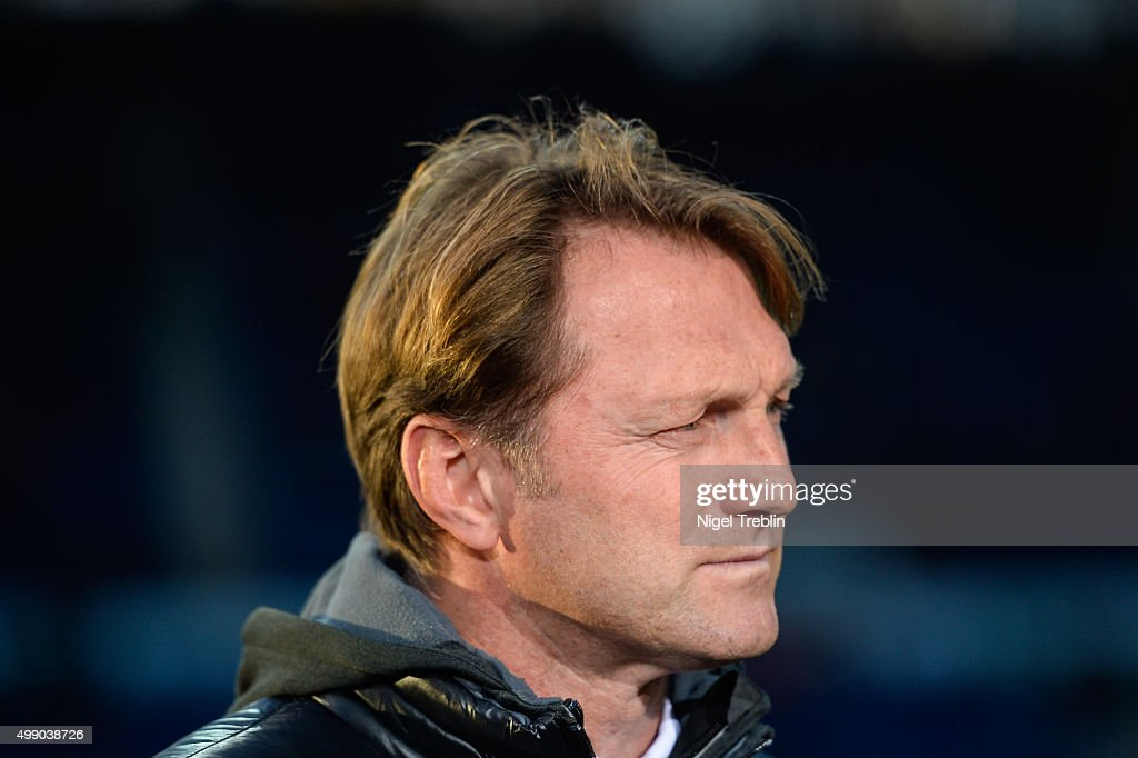Head coach Ralph Hasenhuettl of Ingolstadt is pictured prior to the Bundesliga match between Hannover 96 and FC Ingolstadt at HDI Arena on November...