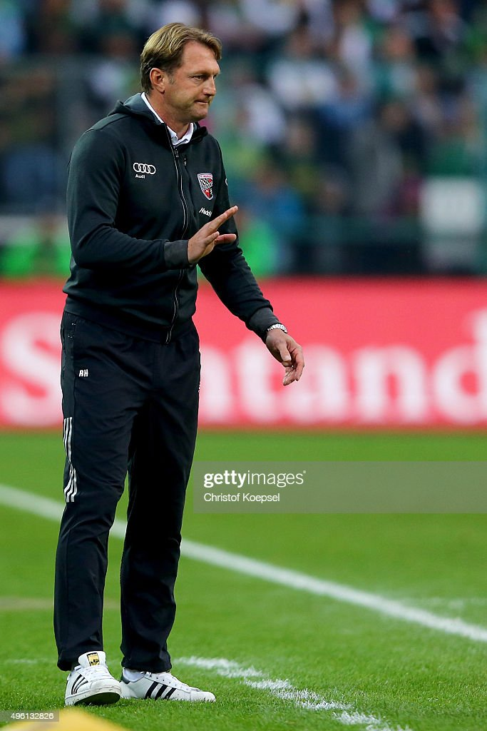 Head coach Ralph Hasenhuettl of Ingolstadt issues instructions during the Bundesliga match between Borussia Moenchengladbach and FC Ingolstadt at...