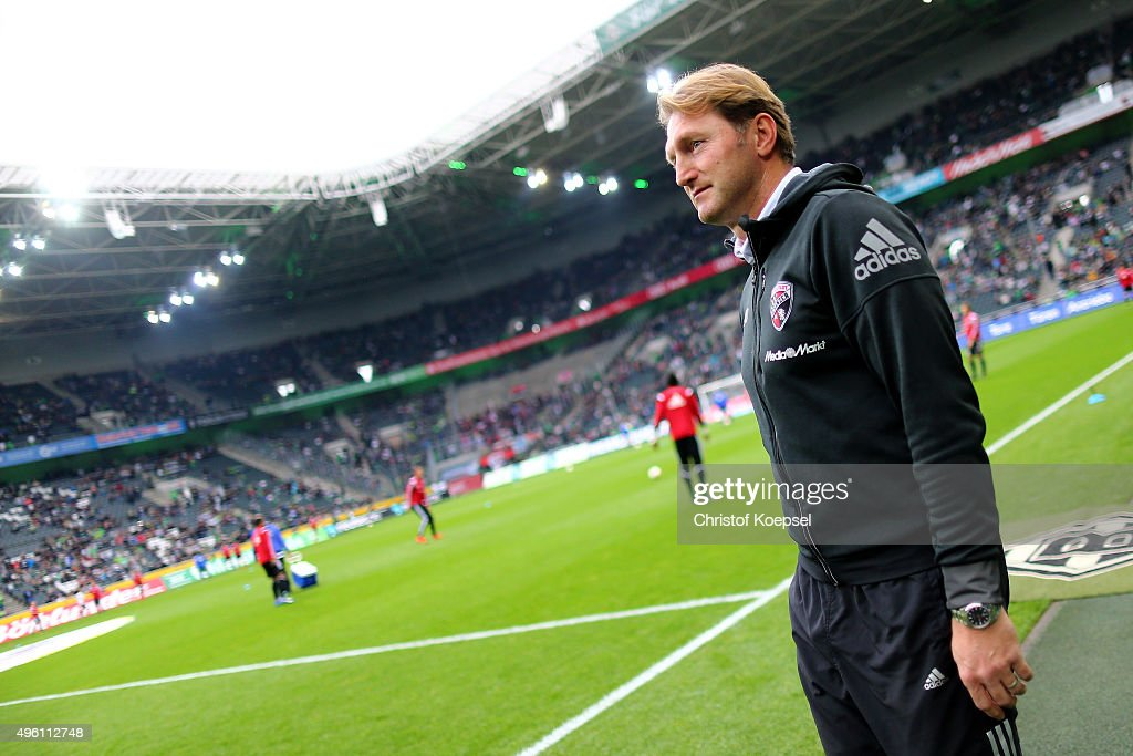 Head coach Ralph Hasenhuettl of Ingolstadt looks on prior to the Bundesliga match between Borussia Moenchengladbach and FC Ingolstadt at BorussiaPark...
