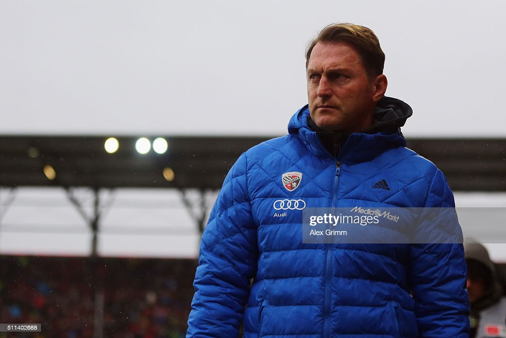 Head coach Ralph Hasenhuettl of Ingolstadt looks on prior to the Bundesliga match between FC Ingolstadt and Werder Bremen at Audi Sportpark on...