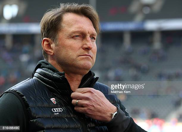 Head coach Ralph Hasenhuettl of Ingolstadt looks on prior to the Bundesliga match between Hertha BSC and FC Ingolstadt at Olympiastadion on March 19...