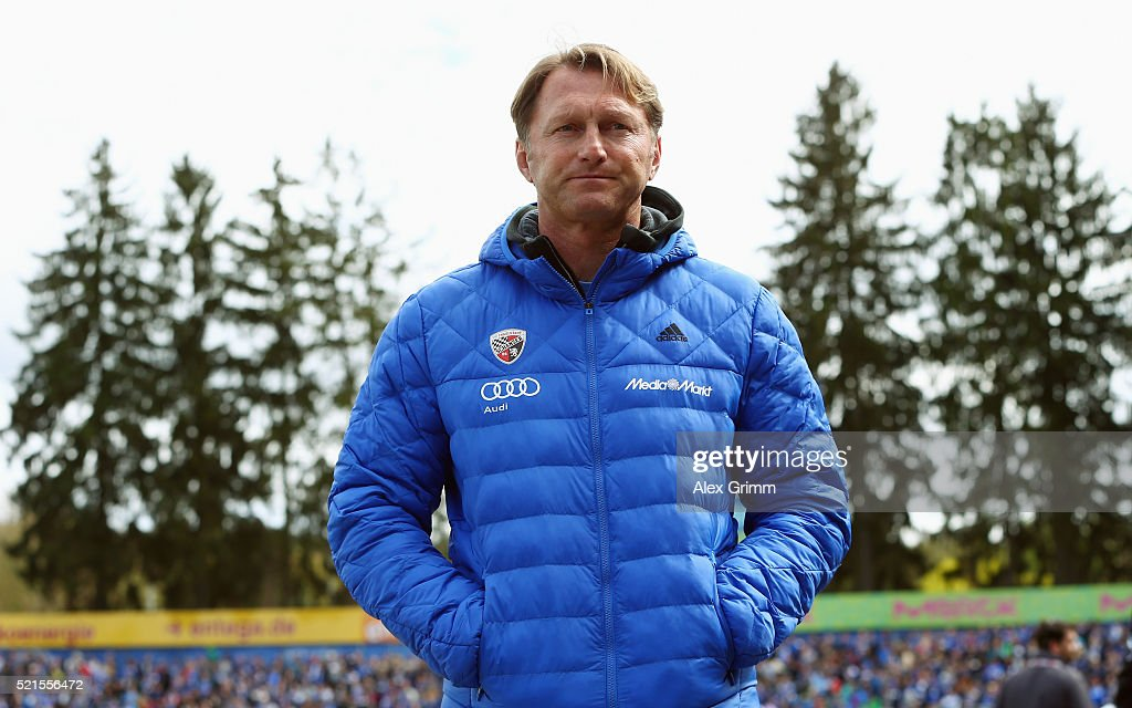 Head coach Ralph Hasenhuettl of Ingolstadt looks on prior to the Bundesliga match between SV Darmstadt 98 and FC Ingolstadt at MerckStadion am...