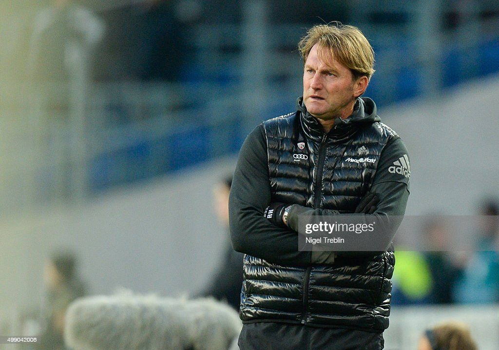 Head coach Ralph Hasenhuettl of Ingolstadt reacts during the Bundesliga match between Hannover 96 and FC Ingolstadt at HDI Arena on November 28 2015...