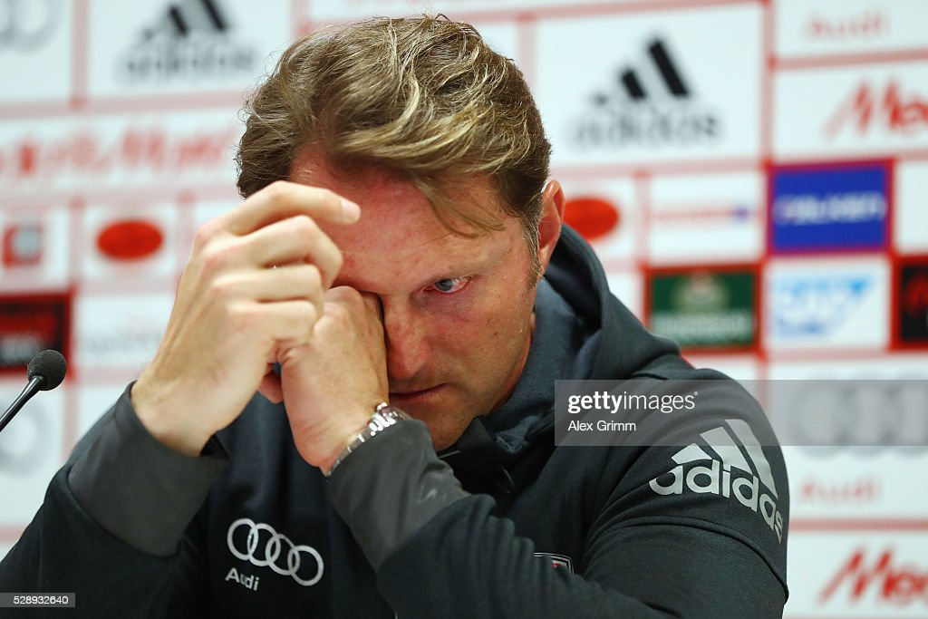Head coach Ralph Hasenhuettl of Ingolstadt reacts during the press conference following the Bundesliga match between FC Imgolstadt and FC Bayern...