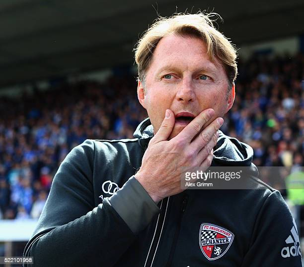 Head coach Ralph Hasenhuettl of Ingolstadt reacts prior to the ball Bundesliga match between SV Darmstadt 98 and FC Ingolstadt at MerckStadion am...