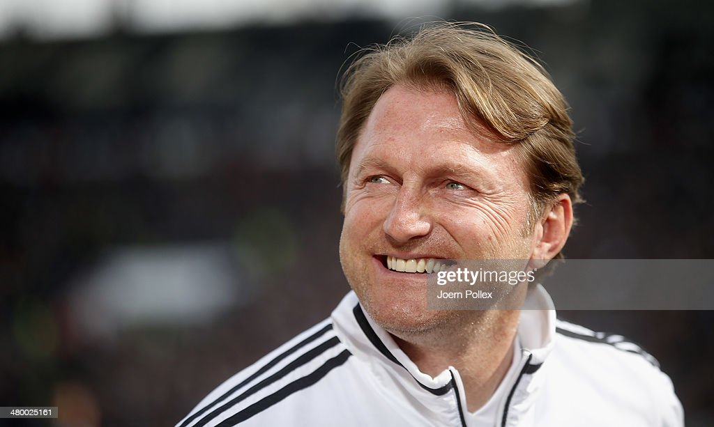 Head coach Ralph Hasenhuettl of Ingolstadt smiles prior to the Second Bundesliga match between FC St Pauli and FC Ingolstadt at Millerntor Stadium on...