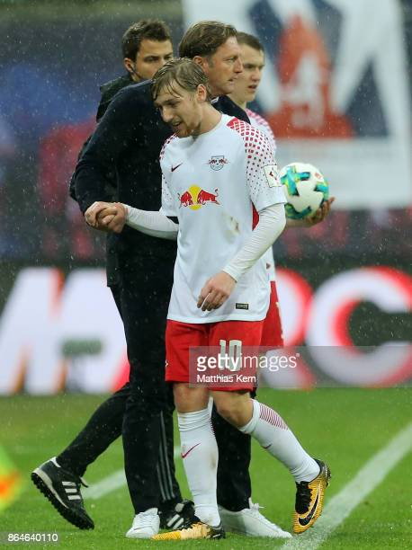 Head coach Ralph Hasenhuettl of Leipzig and Emil Forsberg look on during the Bundesliga match between RB Leipzig and VfB Stuttgart at Red Bull Arena...