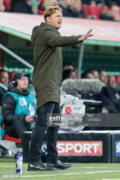 Head coach Ralph Hasenhuettl of Leipzig gestures during the Bundesliga match between FC Augsburg and RB Leipzig at WWK Arena on March 3 2017 in...