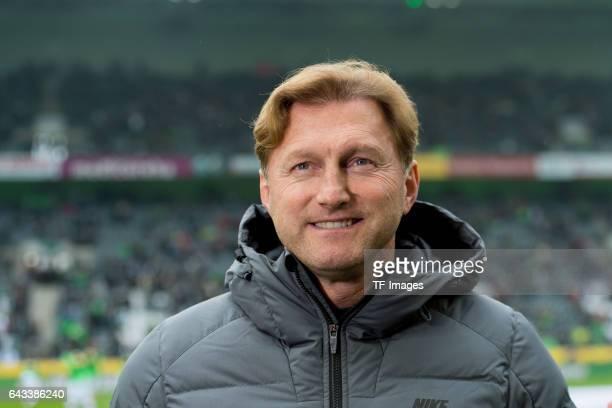 Head coach Ralph Hasenhuettl of Leipzig laughs during the Bundesliga match between Borussia Moenchengladbach and RB Leipzig at BorussiaPark on...