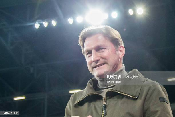 Head coach Ralph Hasenhuettl of Leipzig looks on during the Bundesliga match between FC Augsburg and RB Leipzig at WWK Arena on March 3 2017 in...