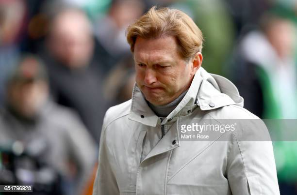 Head coach Ralph Hasenhuettl of Leipzig looks on during the Bundesliga match between Werder Bremen and RB Leipzig at Weserstadion on March 18 2017 in...