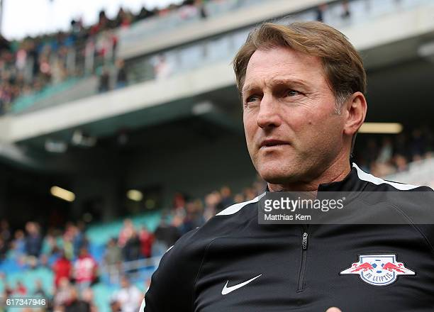 Head coach Ralph Hasenhuettl of Leipzig looks on prior to the Bundesliga match between RB Leipzig and SV Werder Bremen at Red Bull Arena on October...