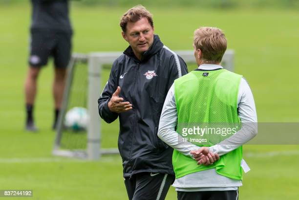 Head coach Ralph Hasenhuettl of RB Leipzig speak with Emil Forsberg of RB Leipzig during the Training Camp of RB Leipzig on July 20 2017 in Seefeld...