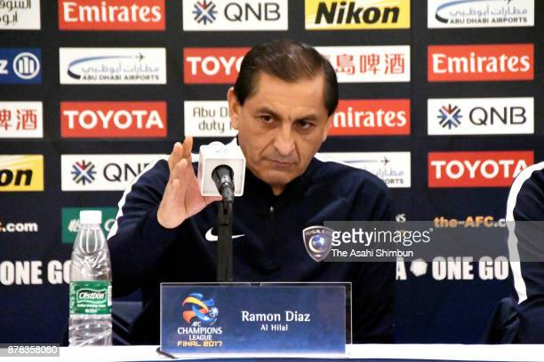 Head coach Ramon Diaz of Al Hilal attends a press conference ahead of the AFC Champions League Final second leg match between Urawa Red Diamonds and...