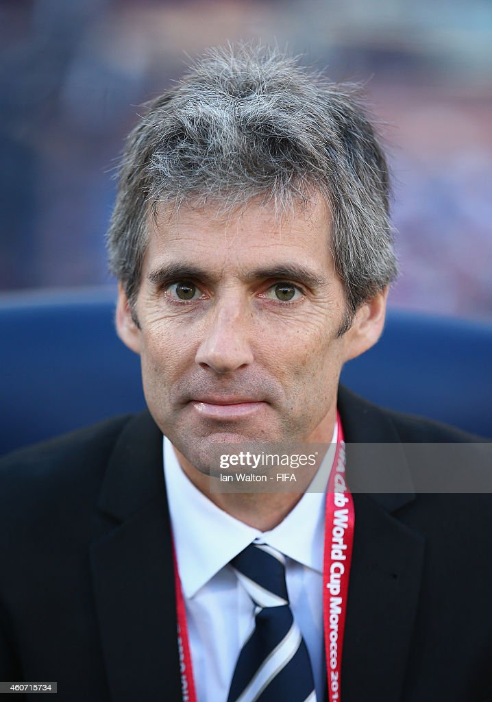 Head coach Ramon Tribulietx of Auckland City FC looks on during the FIFA Club World Cup 3rd Place match between Cruz Azul and Auckland City FC at Marrakech Stadium on December 20, 2014 in Marrakech, Morocco.