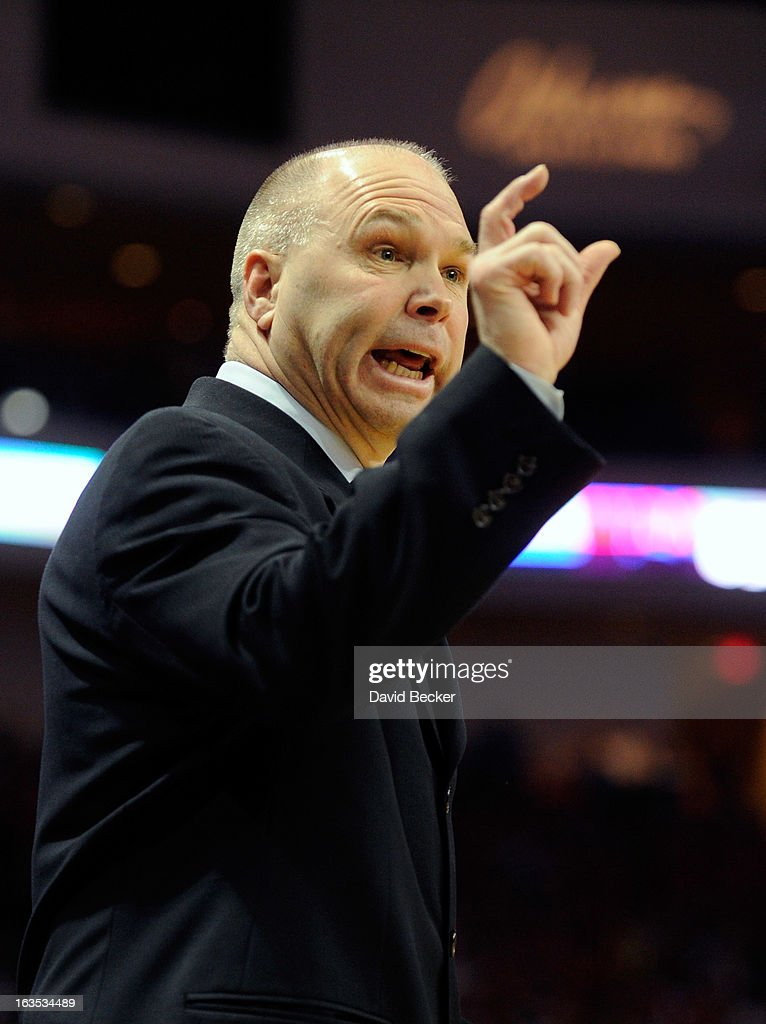 Head coach Randy Bennett (L) of the Saint Mary's Gaels gestures during the championship game of the West Coast Conference Basketball tournament against the Gonzaga Bulldogs at the Orleans Arena March 11, 2013 in Las Vegas, Nevada. Gonzaga won 65-51.