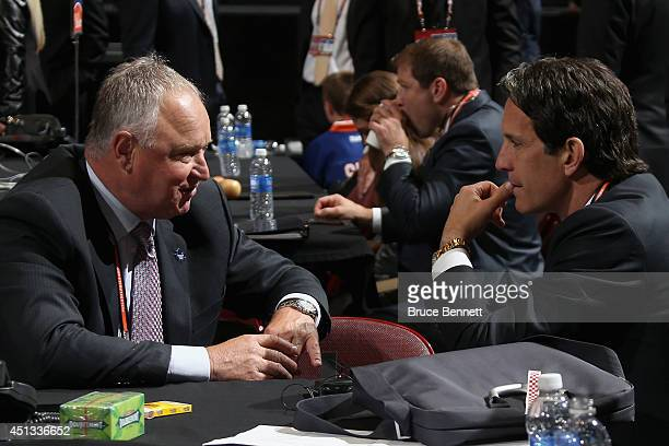 Head Coach Randy Carlyle and Brendan Shanahan President of the Toronto Maple Leafs speak prior to the first round of the 2014 NHL Draft at the Wells...