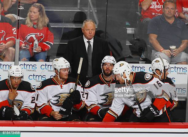 Head coach Randy Carlyle of the Anaheim Ducks handles bench duties against the New Jersey Devils at the Prudential Center on October 18 2016 in...