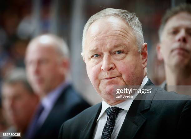 Head coach Randy Carlyle of the Anaheim Ducks looks on from the bench during their NHL game against the Vancouver Canucks at Rogers Arena March 28...