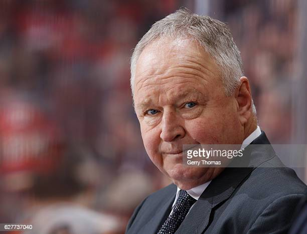 Head coach Randy Carlyle of the Anaheim Ducks mans the bench against the Calgary Flames at Scotiabank Saddledome on December 4 2016 in Calgary...