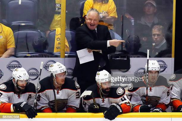 Head coach Randy Carlyle of the Anaheim Ducks reacts during the second period in Game Three of the Western Conference Final against the Nashville...
