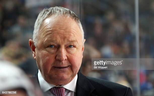 Head coach Randy Carlyle of the Anaheim Ducks watches the action against the Buffalo Sabres during an NHL game at the KeyBank Center on February 9...