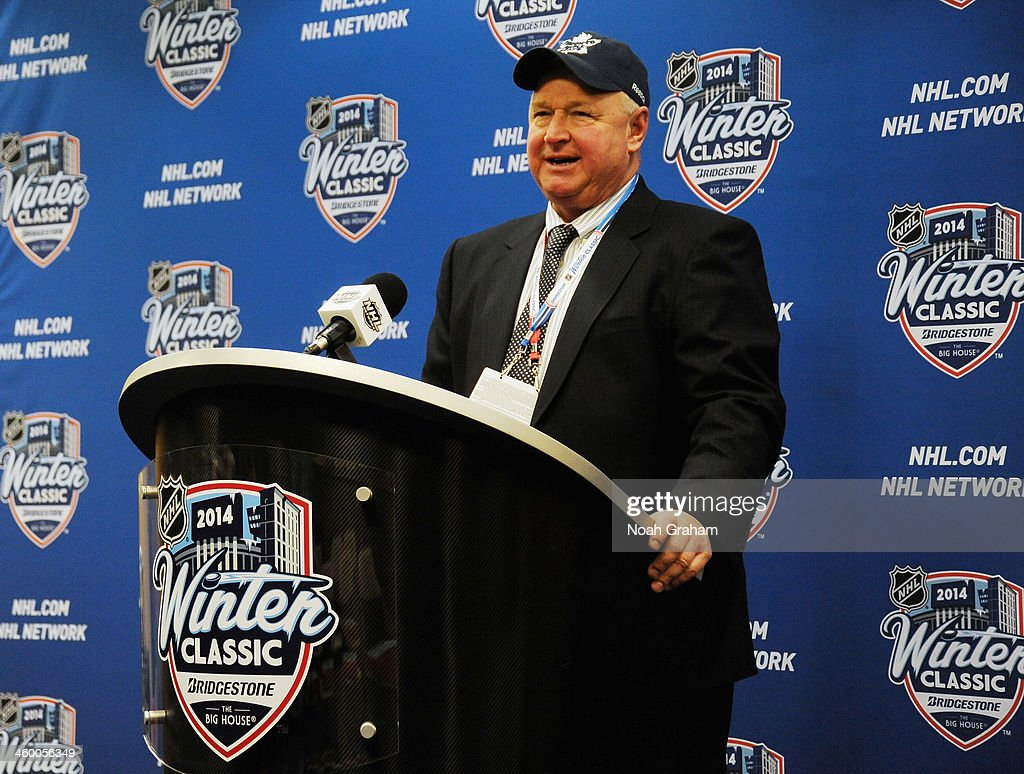 Head coach Randy Carlyle of the Toronto Maple Leafs is interviewed during a press conference after their 32 shootout overtime win over the Detroit...