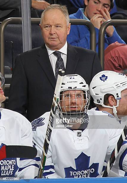 Head Coach Randy Carlyle of the Toronto Maple Leafs looks on from the bench during a game against the New York Rangers at Madison Square Garden on...