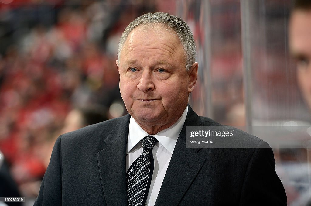 Head coach Randy Carlyle of the Toronto Maple Leafs watches the game against the Washington Capitals at the Verizon Center on February 5, 2013 in Washington, DC.