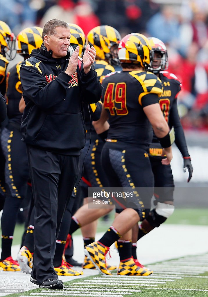 Head coach <a gi-track='captionPersonalityLinkClicked' href=/galleries/search?phrase=Randy+Edsall&family=editorial&specificpeople=2160091 ng-click='$event.stopPropagation()'>Randy Edsall</a> of the Maryland Terrapins applauds his team from the sideline during the first half of the Terapins 33-13 loss to the Georgia Tech Yellow Jackets at Byrd Stadium on November 3, 2012 in College Park, Maryland.