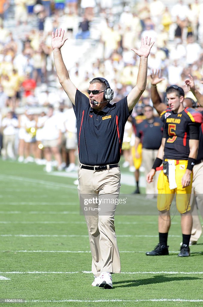 Head coach Randy Edsall of the Maryland Terrapins celebrates a touchdown against the Georgia Tech Yellow Jackets at Bobby Dodd Stadium on October 8...