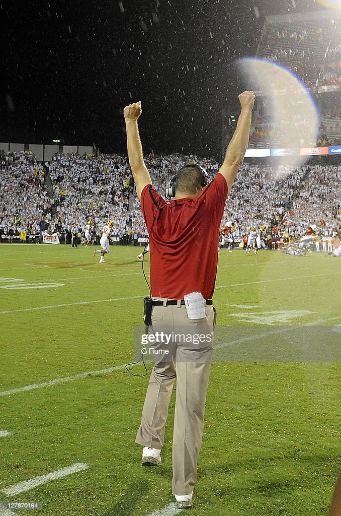Head coach Randy Edsall of the Maryland Terrapins celebrates after a victory against the Miami Hurricanes at Byrd Stadium on September 5 2011 in...