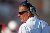 Head coach Randy Edsall of the Maryland Terrapins is seen on the sidelines during the game against the Indiana Hoosiers at Memorial Stadium on...