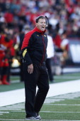Head coach Randy Edsall of the Maryland Terrapins looks on against the Clemson Tigers during the first half of the game at Byrd Stadium on October 26...